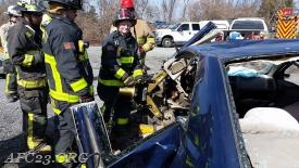 FF Melton with the Jaws of life (Spreaders)