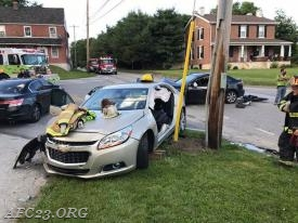 """Vehicle after crew removed driver's side door and """"B"""" post."""