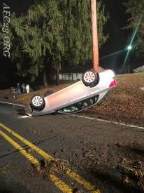 Overturned vehicle on Garden Station Road