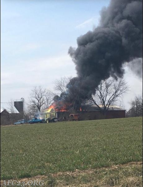 Barn fire that Tanker 23 assisted  Oxford Fire Company.