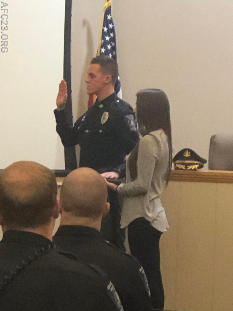 PO Walsh getting sworn in