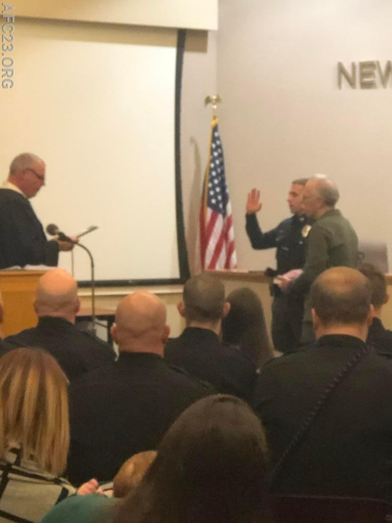 PO Giacobello getting sworn in