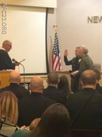 PO Giacobello getting sworn in