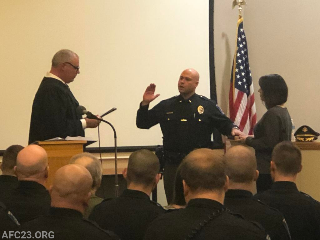 Lieutenant Greenwalt being sworn in