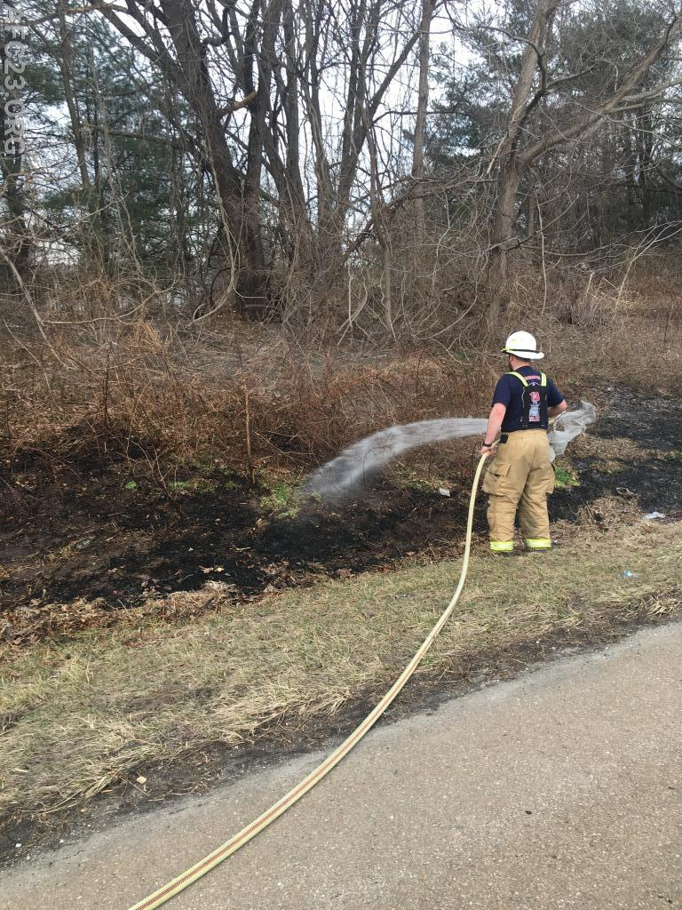 Lieutenant Franks extinguishing one of four fires