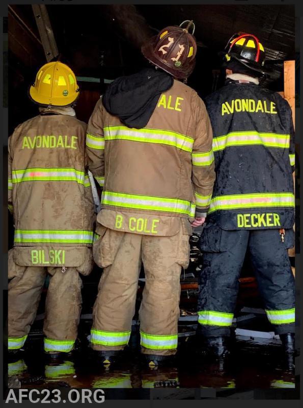 Firefighter A. Bilski,  Chief Hoseman B. Cole, Firefighter J. Decker