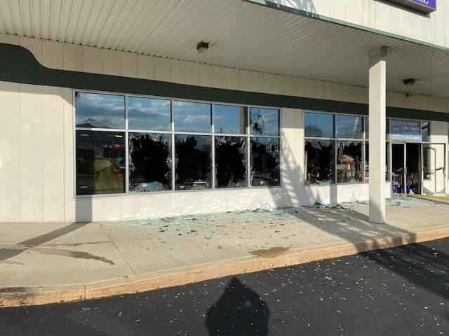 Vented windows of the business the fire was in.   Photo courtesy WGFC.ORG