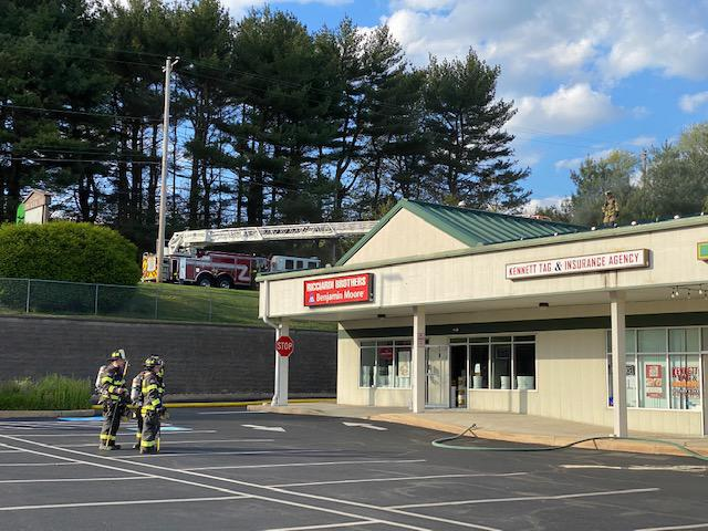 """Hockessin's Ladder set up on Baltimore Pike covering the """"B"""" side of the incident."""
