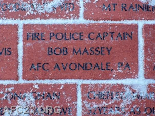 Brick dedicated to Bob at the Firefighter's Memorial in Ocean City, MD.